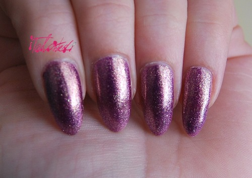 SWATCH: Nails Inc - 'Wardour Mews' This is one of the Nails Inc polishes I got in my TK Maxx haul. This came in the Midas Touch collection of 4 glittery pretty colours. Wardour Mews is a sheer lilac with gold foil effect duochrome finish. The first picture shows it with a flash and as you can see it looks a more vivid purple with gold flecks. The bottom two pictures show it in direct sunlight, which is when the beautiful duochrome comes in. It goes almost pinky lilac and the gold glows. Beautiful. This manicure is 3 coats of polish and could probably do with another as there's a faint VNL there. I also used two layers of top coat and it still feels a bit gritty, but I can handle that for this colour. Lex :)