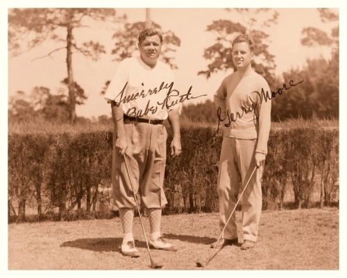 Babe Ruth Hits The Links - 1930'sI did some digging as to Gerry Moore might be. Seems like a good bet could be a well-known British jazz pianist that worked the London night clubs from 1922-39. So this picture might have been taken on a golf course in England.