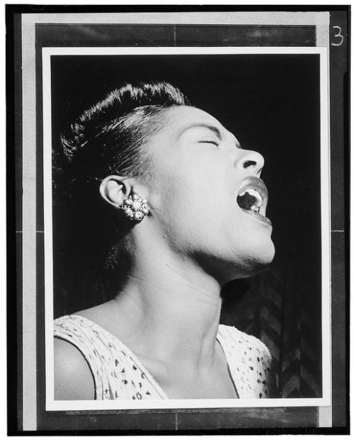 [Portrait of Billie Holiday, Downbeat, New York, N.Y., ca. Feb. 1947] (LOC) by The Library of Congress on Flickr.