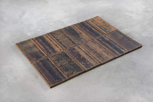 Carl Andre 12 TX Header Row / 1975 12 unit rectangle; steel / overall: 5/8 x 23 x 33""