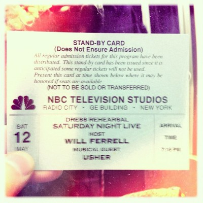 Snl stand by ticket! #snl #willferrel #usher #instagood #istagoodness #gmy #iphonesia #swag #gang_family #webstagram #hype  (Taken with instagram)