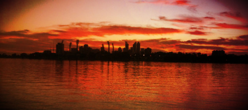 Sunset over Perth as seen from Burswood Park.  Using Classic Pan app.