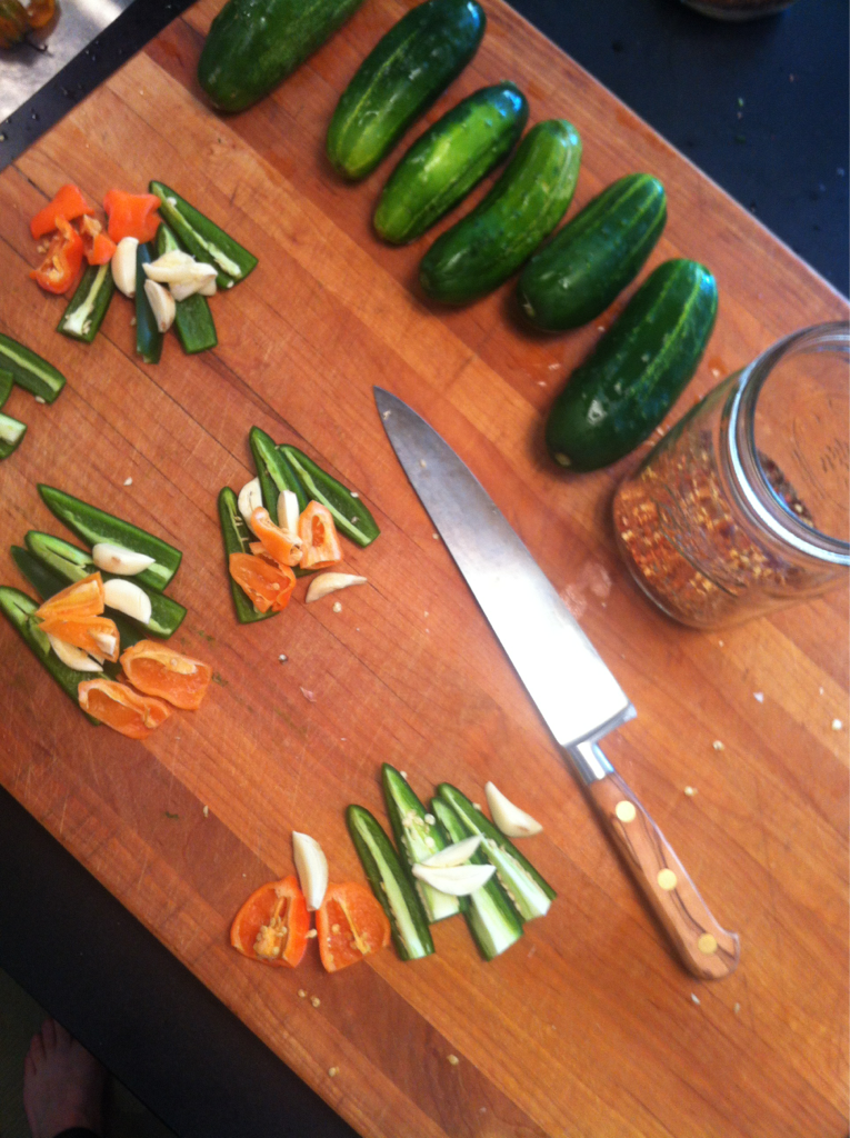 Saturday morning, so, you know, we're making pickles.