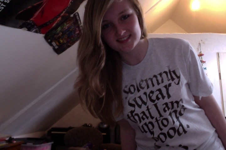 This is me wearing my Marauders top!! <3