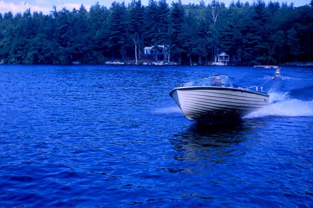 Waterskiing at Squam Lake, NH (1968) Kodachrome slide
