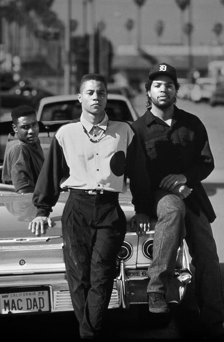 Promo photo of Morris Chestnut, Cuba Gooding Jr., and Ice Cube for the movie Boyz N Da Hood.