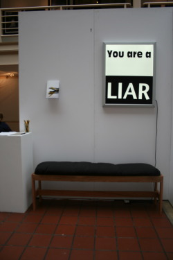 Liar, Light box, Vinyl, Oak bench, 2012, Multidisciplinary and Sculpture Thesis Show