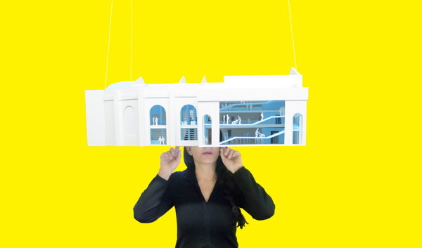 The End of Performance Art as We Know It Marina Abramović wearing the model for her eponymous Institute for the Preservation of Performance Art (all images courtesy OMA)