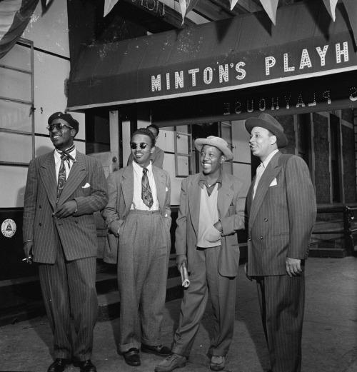 Hip Cats | 1947 Portrait of jazz legends Thelonious Monk, Howard McGhee, Roy Eldridge, and Teddy Hill in front of Minton's Playhouse in Harlem, N.Y, 1947. FIND US ON TWITTER | FACEBOOK | TUMBLR | FLICKR | PINTEREST