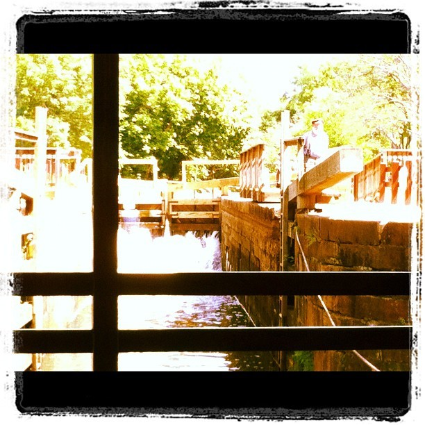 Our mule drawn boat heads into lock 20 on the C&O canal. #boat #canal #chesapeake #ohio #mule #potomac #greatfalls #dc (Taken with instagram)