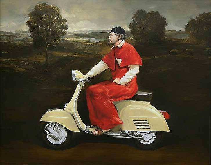 "Alan MacDonald. Vesper Vespa, 2006. Oil on board, 16 x 20"".  http://www.alanmacdonald.net/"