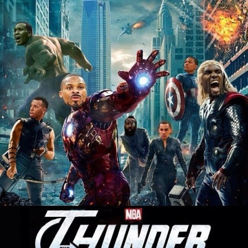 "nbaoffseason:  @jharden13 @russwest44 @kdtrey5 @sergeibaka9 we r the ""Avengers"" - @dc4three 