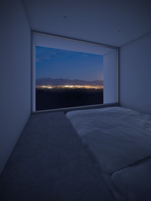 imagine getting to spend the night in this bed next to someone you love, discussing big and small things or just breathing next to each other while the cars and the city lights dimly light up the mountains and remind you that the world never ever goes to sleep. every night. i'd fucking love that.  imagine spending a night with just your closest friends or even alone and just enjoying it  this looks absolutely amazing  imagine waking up in the middle of the night to find some guy with suction cups on his hands and feet attached to your window and making faces at you while you sleep I want to do this with her.