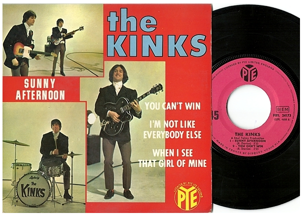"The Kinks ""Sunny Afternoon"" EP - Pye Records, France (1966)."