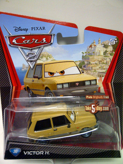 mrsbernoulli:  Mattel Disney Pixar CARS 2 Diecast: Victor Hugo – The UGO is silent Victor Hugo has arrived in Case D only his name is now just Victor H. The Top 10 reasons for the change? 10) The nameplate designer had an interview with Spinmaster so no time to type in three more letters. 09) Victor Hugo's (the writer's) great, great, great, great, great grand kids might sue. It's not like if you say the words Victor Hugo to American High School students, you'll be met with bored indifference. 08) His full name of Victor H. Christ might be NSFW? 07) The package designer hated the Hunchback of Notre Dame so no tribute to the writer. 06) HUGO might be one of those newfangled text shortcut words that would offend nuns, Teamsters and rumspringa Amish. 05) The country of Yugoslavia might re-form as a country to sue for besmirching the name of their national car company. 04) If you look closely, it's not really an H but a vertical bar over a double L square – clearly Masonic – to the Illumanti! 03) There will be variant nameplates where his name is spelled out. 02) They just don't give a darn? And the Number One reason? 01) They just don't give a damn?