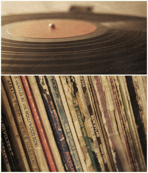 "heyoscarwilde:  Vinyl Love photograph/design by Tyler Varsell :: via ohyourenofun  I tried to get into vinyl. I understand that it has better fidelity and a ""phatter"" sound. I just found I didn't care enough and the benefits, including hipster-esque kitschy nostalgia, didn't out-weigh the superior user experience of my computer. I had imaginings of taking my father's record collection and reutilizing it. No. iTunes and SoundCloud for this guy, thanks. I'll use the saved shelf-space for real books, which I am not yet ready to give up for a reader."