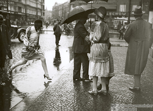 A Young Woman Jumps Over a Puddle (1930)