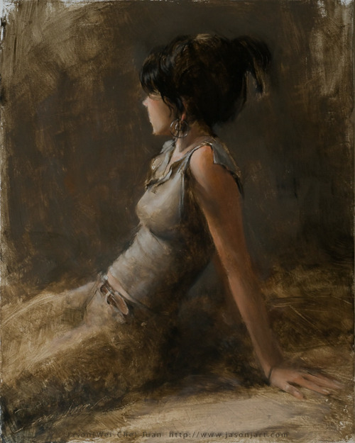 "Female Model, 24x30, Oil on Linen by Michael Accorsi Peruse Jason Juan's expressive, figurative work with your favorite music playing and glass of wine - it's an experience within itself. I had the opportunity to interview Jason this past week for EIL - enjoy! MA:  Tell us a little about your art background and studio. Where do you do most of your work? Jason Juan: I recently moved to Bay Area. The art scene is still new to me at this point. For the last nine years I lived in Seattle and worked with Eastside Artists Collaborative, Gage Academy of Art, and Art or Not Terminal. I learned a great deal at EAC which is run by Larine Chung. We started to incorporate windows with natural light to the settings which create the best quality of lighting on the subjects.                                                   Artist, 12x16, Oil on Linen  Artist is a portrait of my artist friend. It is such a joy when a painting got done so smoothly and everything just feel right. If the setting and lighting are right, the painting is halfway done. When I was painting him, he was actually drawing as well until the last ten minutes I asked him to look at me so I could finish the eyes.  MA: Can you tell us the methods you use to start a large work?: (sketches, smaller mock-ups, etc.) Jason Juan: Before I paint a large sized painting, I prepare a smaller oil sketch usually around 9""x 12"" to 16""x20"", or Charcoal/Pencil sketch which is usually 8.5""x 11"". With large work, it has to be done in several stages. I prefer to paint straight for a few hours so the canvas is still wet or wait for another week until it totally dried so I can work on it again. Sometimes sandpaper is used in the process especially for the smooth area such as skin before I put another layer of paint. I also paint over my old work a lot if some of the abstract elements in the old work is something I was to help in the composition for the new painting.                                             Temptation, 24x30, Oil on Linen Temptation is a painting I developed from a quick sketch at one of my drawing sessions. The primary sketch is pictured below. MA: What I enjoy about your figurative work is the interplay between realistic classical figurative work, then some interpretive contemporary twists and loose styles – how does this ability to have versatility work for you? Jason Juan: I believe the contemporary twists and loose styles you saw in my paintings were from what I learn in Chinese calligraphy. Chinese calligraphy contains many elements which I feel has big connection with human figures, and sometimes I even feel they could be the same such as certain curve lines, compositions, and the power of the strokes.                                               Figure Sketch, carbon pencil on paper   MA: Are there any contemporary artists that you admire or made impressions on your work? Jason Juan: There are many contemporary artists who have inspired my work. Here are just few of them: Chuck Close, Lucian Freud, David Leffel, Jeremy Lipking, Nikolay Blokhin and Carl Jackson, who is one of my instructors in school, and he shared personal and painting experience with me while I was learning to draw between 2002-2005.                                               The Light #3, 22x28, Oil on Canvas MA: Where can interested collectors see and purchase you work? Jason Juan: I worked on both traditional media and digital media. Waterhouse Gallery at Santa Barbara carry some of my oil paintings. Visit my blog or contact me for more detail info if you are interested in more paintings and limited archival paintings of my digital works.                                                                    Jason Juan in his studio   Jason Juan is a traditional and digital artist working in the San Francisco Bay area. After working for nine years in the Seattle art scene Juan is making an impression on contemporary artists across California. See more of his work and drop him a note on his blog.   Jason Juan website                                                                                              Michael Accorsi is an artist, painter working from his studio in Northern California. He writes about art on his blog Plotlines Art Journal. Connect with Michael on Facebook and Twitter as well."