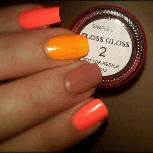 @FLOSSGLOSS Kind of a big deal. July 2012. #flossglossltd #sampleonly #BikiniCoral #NeonNacho #Tanlines #nails #FG4LYFE (Taken with instagram)