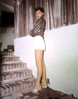Audrey Hepburn on the set of Sabrina, 1953.