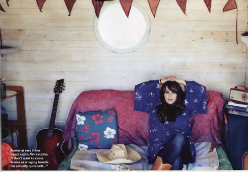 Rumer in her Whitstable beach hut. This picture is featured in this month's Q magazine.  Threads: Tunic by Vero Moda from Asos, Jeans by H & M and boots vintage FRYE circa 1979.