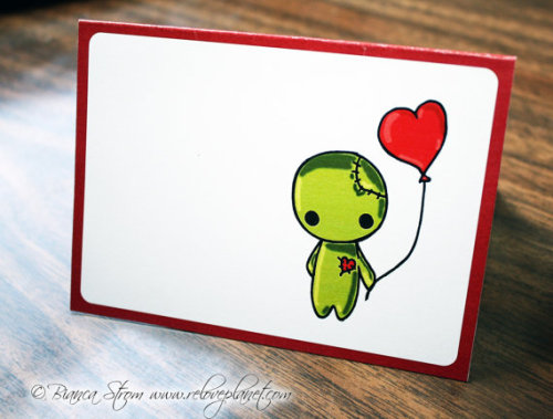 Couple cute new cards! :) ZOMBIE Love Balloon Card - birthday anniversary congratulations anything - ReLove Plan.et Art Print