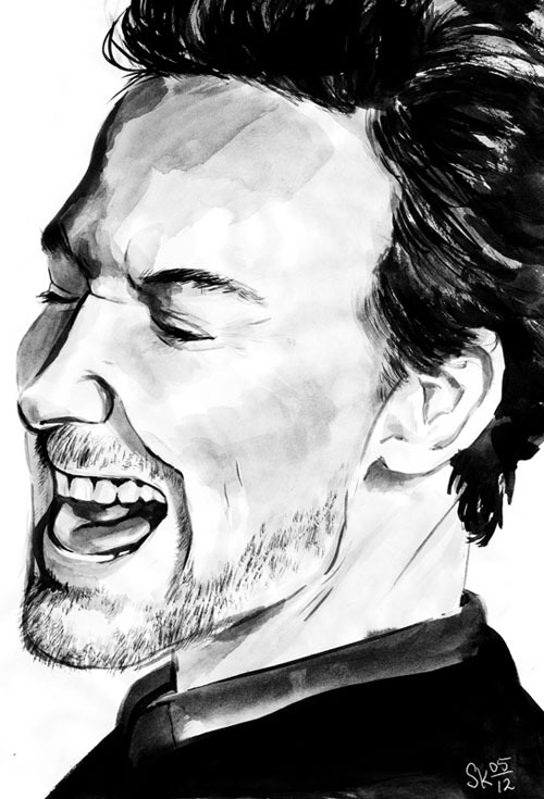Quite quick ink painting of Tom Hiddleston. I wanted to practice a little different facial expression than what I normally would draw/paint.
