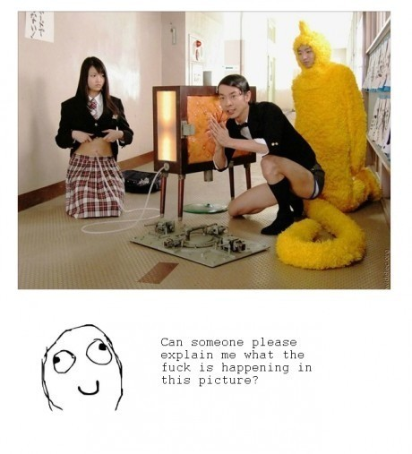 Saw the teletubby, smiled Saw the girl, lol whut? Saw the dude.. xD all three… xD xD xD  Saw the troll action.. ;_; What is air?