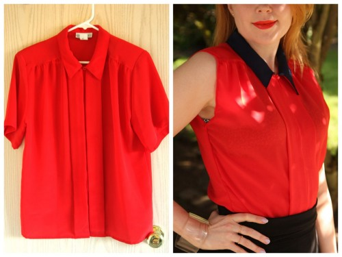 DIY Thrifted Goodwill Chiffon Blouse Restyle Tutorial. She also has a link on how to make a shirt smaller. Also like her solution to changing the color of the collar. Tutorial by Chick Steals here.