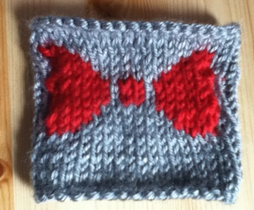 I just learned how to knit and I made this 'Bow ties are cool' coffee cozy from my own pattern.   submitted by allergictoapples