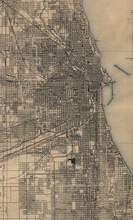 greaterthanexpected:   Map of Chicago in 1901  this would make for a great framed piece, Chi-town