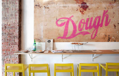 Source: Habitus Living Awesome pizzeria called Dough Pizza in Perth, Western Australia. The yellow, the pink and the vintage decor gives it a relaxed and understated cool vibe. Check it out here and here.