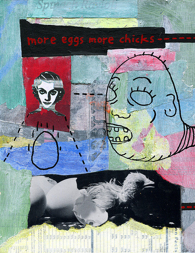 more eggs more chicks - - -  acrylic on found lacquered wood print 28cm x 23 cm schlockhausen: fb