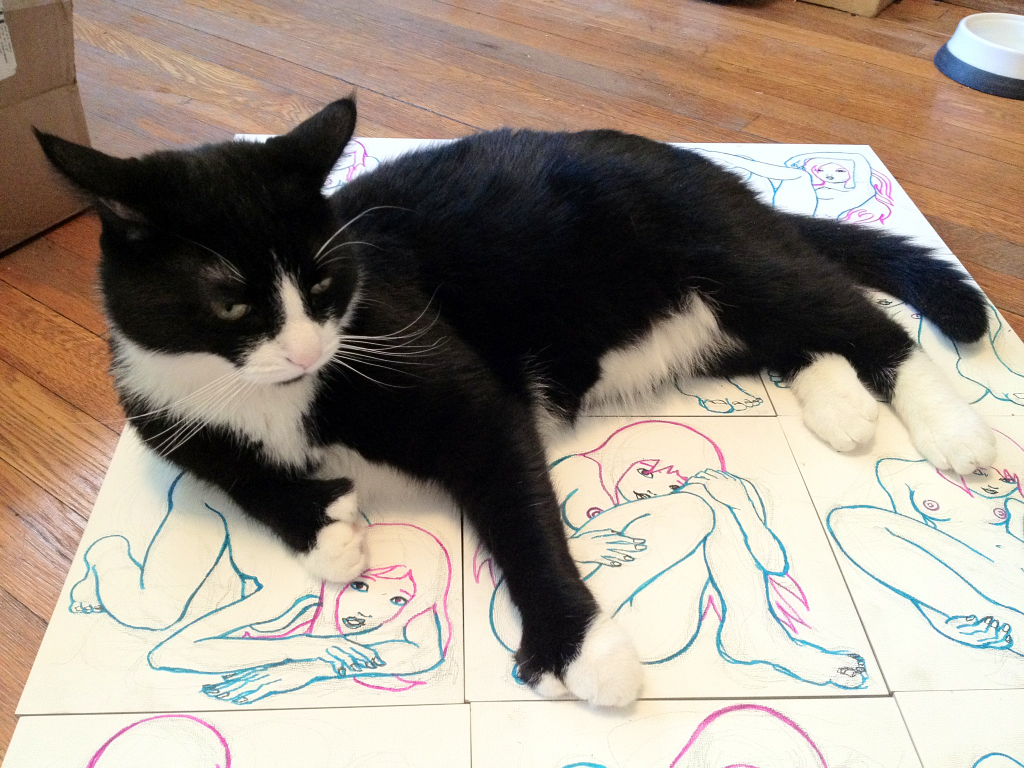 and of course a photo of otto sitting on tom's drawings