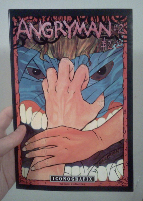 Angryman #2 by Eric Haven, Iconografix, 1992 I knew nothing of this work when I came upon it in the bargain bins (I got it for 33 cents, I think).  The crazy looking cover is actually not very representative of the tone of the inside, as it is mostly a subdued (although angsty and humorous as well) character based drama. Since this is the 2nd issue, I'm not clued into exactly how things got to be the way they are at the start here, although it is still a very enjoyable read in its own right.  A guy who appears to be a drifter (although it turns out he does live there in town), looking kind of grungy (appropriate for the early 90s) with lots of big bags, sets off with a waitress he just met as she closes up shop at the all night café she is working at.  She regales him with an assortment of tall tales (or perhaps simply crazy truths) over breakfast before they head back to his place to take a load off.    I really liked this book.  Great art, story, and characterization that would fit right in today's alternative scene, or any other scene of any era, really.  Good comics are good comics, right?  Going into this I did not know of the work of Eric Haven, but learned after googling him that he is still active and had a series that I was actually familiar with (but had not read) put out by Sparkplug books in recent years, although those newer works appear to be more fantastical and adventure based, at least based on the titles and covers (although I learned with this issue that the cover didn't exactly match the drapes, so to speak).  At any rate, this was a great find!