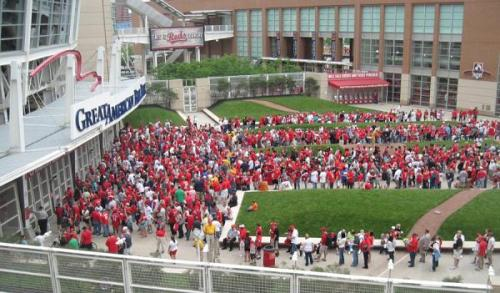 The line in Crosley Terrace waiting to get into the Reds game and to get a Joey Votto bobblehead.