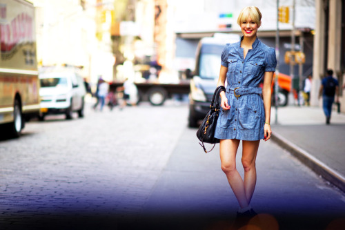 STREET STYLE // NYC 365 - Dainty in Denim!  Fierce black boots and bag offset her feminine retro denim dress, red nails, and hot pink lips.
