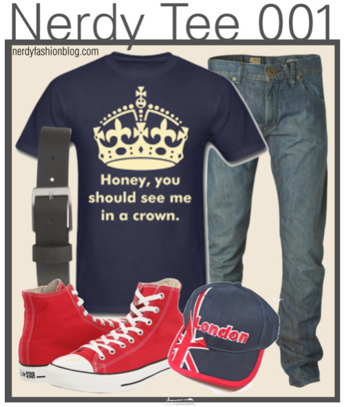 Nerdy Tee 001 | BBC Sherlock (Moriarty) by chelsealauren10    Converse sneaker, $50Volcom Effer Denim Pant Men's, $49Matte Buckle Belt, $8.90Baseball hat  You can find the tee here :) The London cap is the hat Moriarty wears in The Reichenback Fall (02.03)!  Using tee-shirts feels almost like a cop out on this blog, but everyone feels comfy in them. ;)