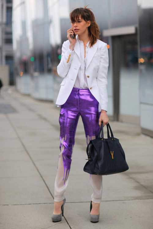 Purple paint drip sheer Prabal Gurung trousers & black YSL bag
