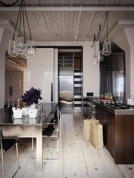 #cool #industrial #interior #kitchen #black #white