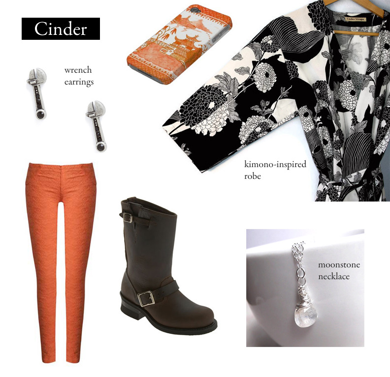 "Outfit inspired by Marissa Meyer's Cinder. ""I'm sure I'll feel much more grateful when I find a guy who thinks complex wiring in a girl is a turn-on."" Black and White Robe 