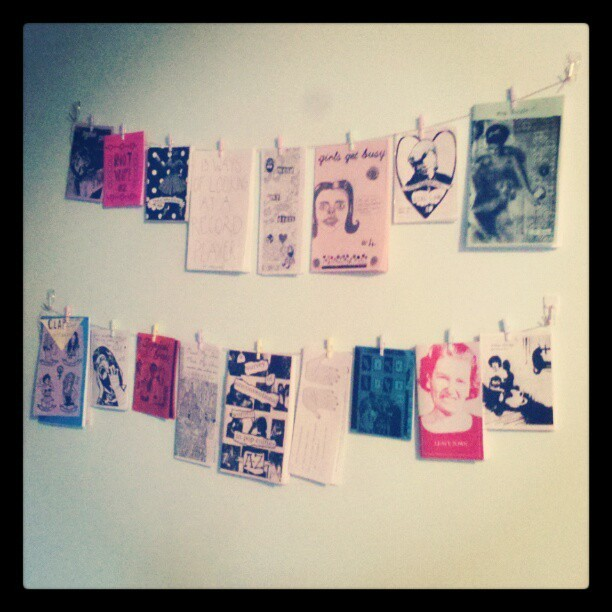Zine wall so far! #zines (Taken with instagram)