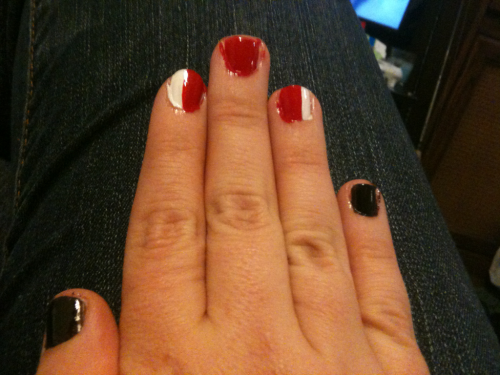 Boredom!! Commander Shepherd nails, left hand is just black.