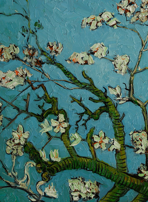 seacomehere:  Vincent van Gogh: Branches of an Almond Tree in Blossom, détail