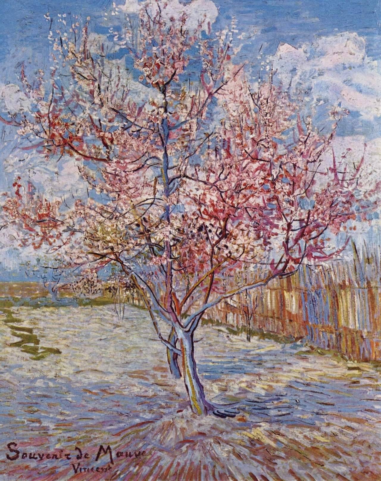 yayitscaroline:  Peach Trees in Blossom (Souvenir de Mauve) Vincent van Gogh 1888 Impressionism Oil on canvas. Müller Museum (Otterlo, Netherlands)