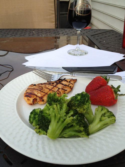 Dinner outside and working. Nice!