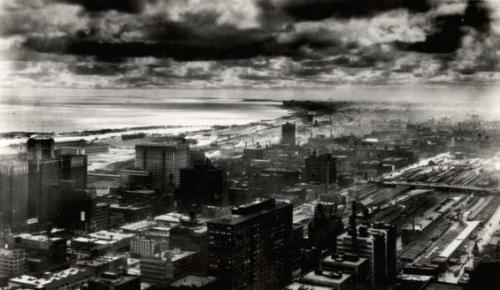 Looking south east from the top of the Board of Trade at Jackson and LaSalle, 1930, Chicago.