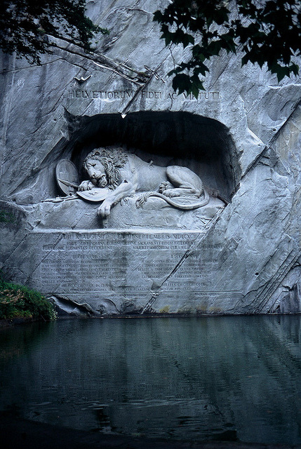 bluepueblo:  Lion Monument, Lacerne, Switzerland photo via saveme