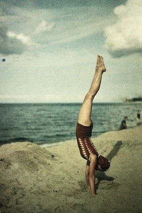 Eva doing a handstand, c1920. Autochrome by Dr. Friedrich 'Fritz' Paneth.