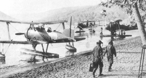 Mitsubishi F1M 'Pete' floatplanes, somewhere in the Pacific